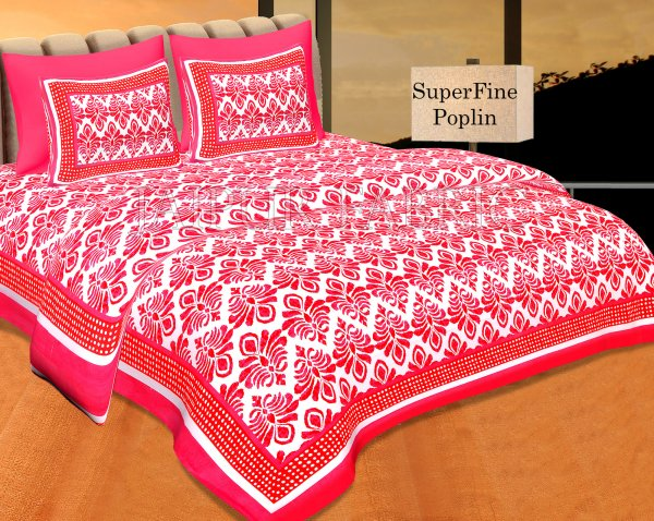 Dark Pink Polka Frame Whit Base Blue Flower Print Super Fine Poplin Cotton Double Bedsheet With Two Pillow