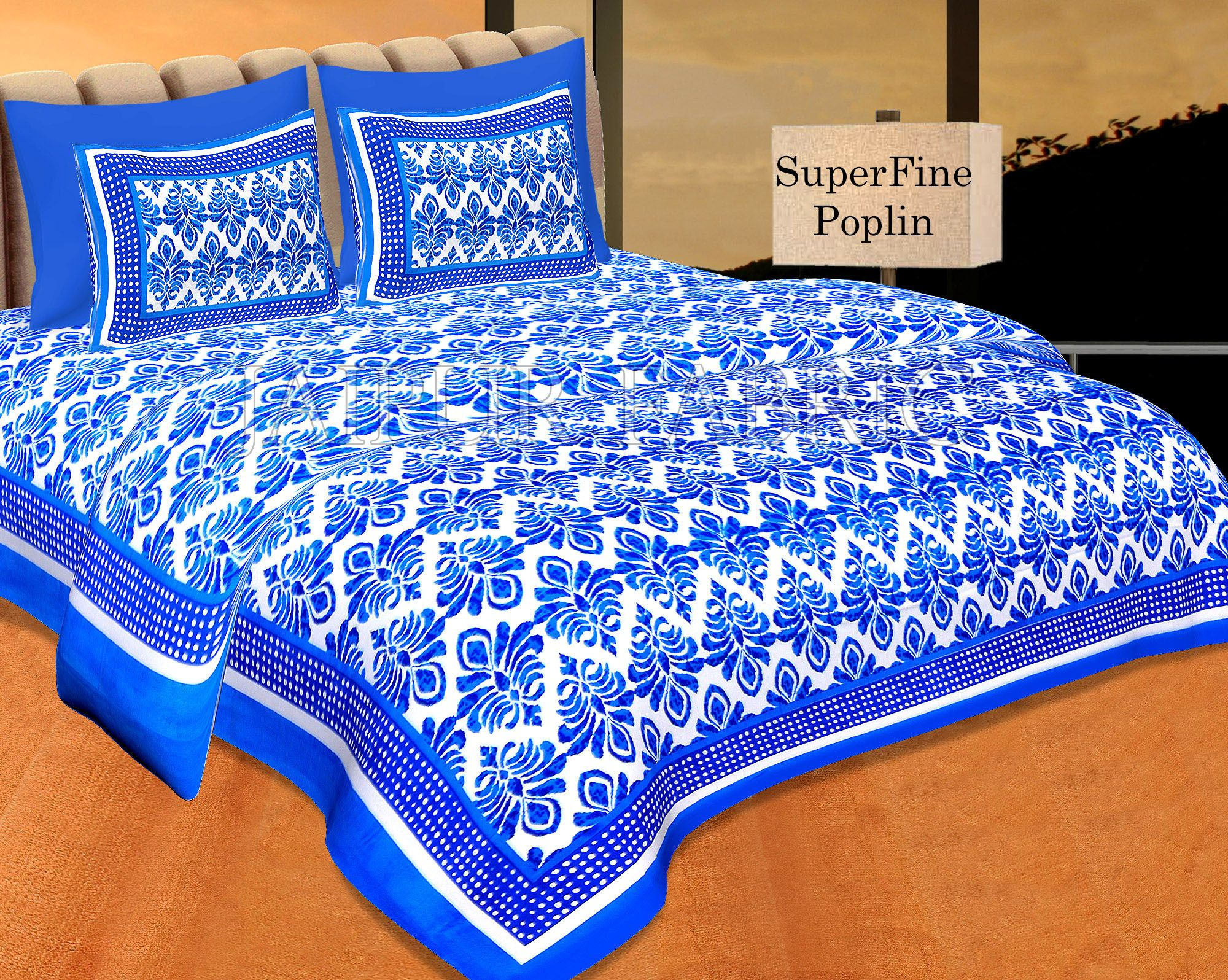 Blue Border Polka Frame Whit Base Blue Flower Print Super Fine Poplin Cotton Double Bedsheet With Two Pillow