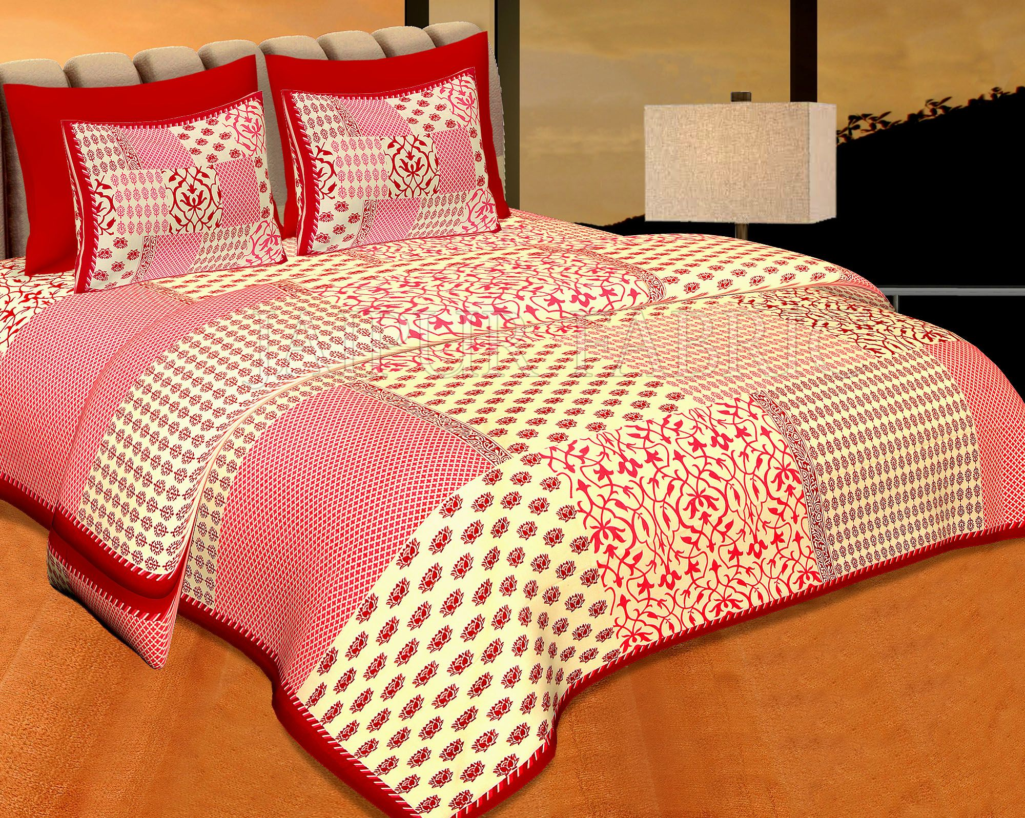 Mahroon Border With Small Lotus Rangoli And Check Print Designer Pattern Fine Coton Poplin Double Bedsheet With Two Pillow Cover