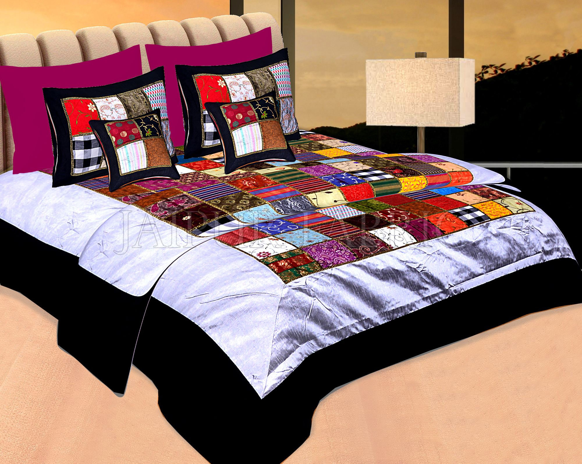 Black Base Handmade Gota Patchwork Double Bed Sheet
