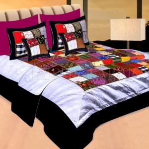 Black Base Handmade Gota Patchwork Double Bed Sheet