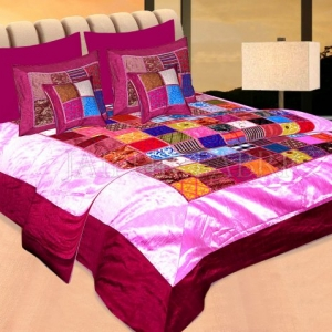 Purple Base Handmade Gota Patchwork Double Bed Sheet