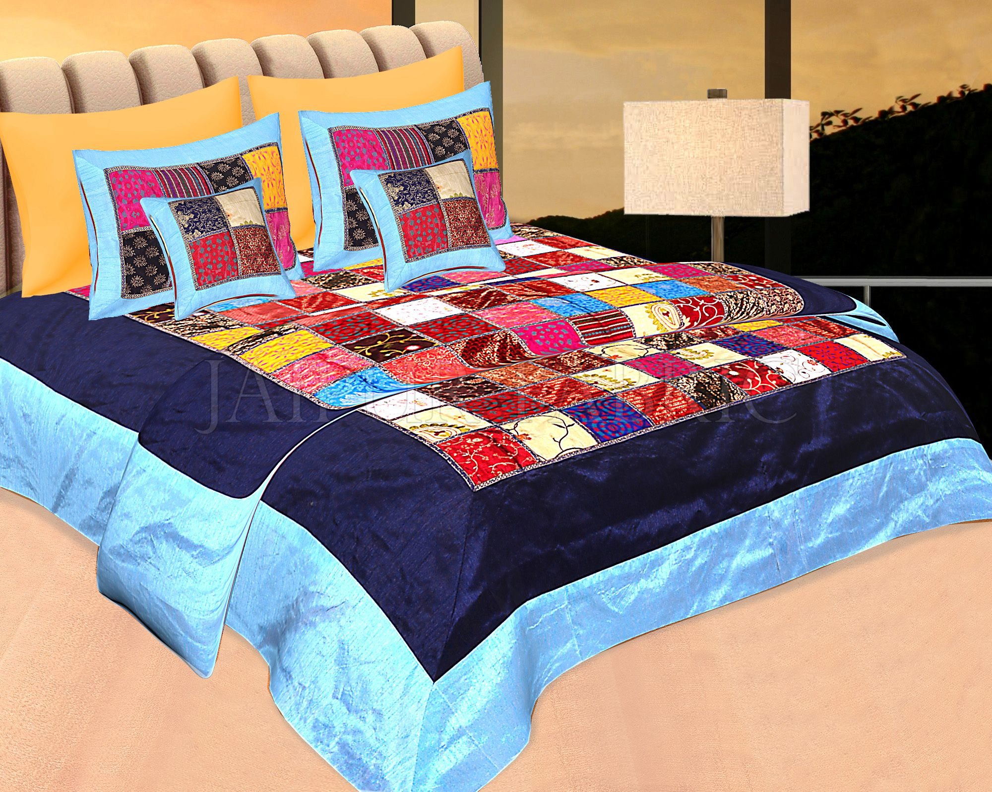 Blue Base Handmade Gota Patchwork Double Bed Sheet