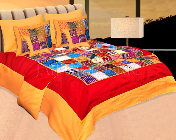 Orange Base Handmade Gota Patchwork Double Bed Sheet