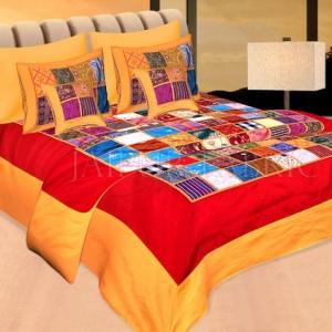 Orange Base Handmade Gota Patchwork Double Bed Sheet
