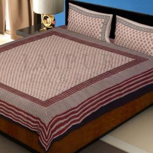 Black Border Hand Block Floral Bagru Print Cotton Double Bed Sheet