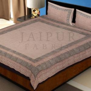 Black Border Hand Block Circle Bagru Print Cotton Double Bed Sheet