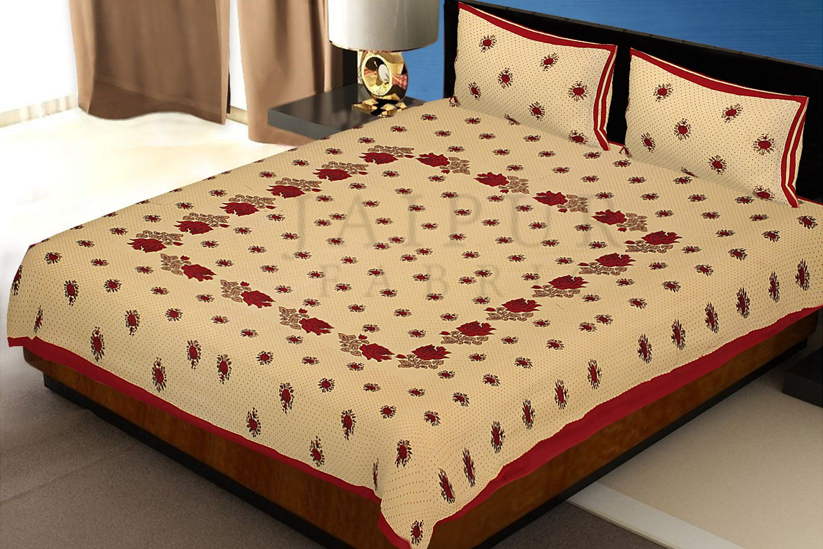 Dotted Yellow Base Red Lotus Flower Print Cotton Double Bed Sheet