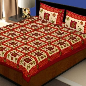 Maroon Border Elephant and Camel Rajasthani Folk Dance Cotton Double Bed Sheet