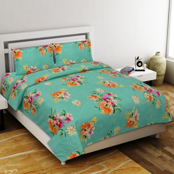 Smooth Floral Premium Poly Cotton Double Bedsheet