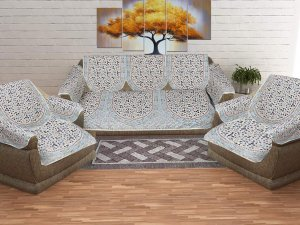 Satrangi Golden Blue Sofa Set Cover
