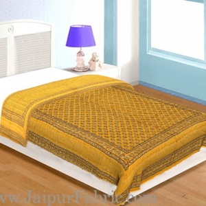 Yellow Base Golden Print Fine Cotton Single Bed Quilt