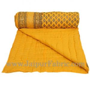 Yellow Base Golden Print Fine Cotton Single Bed Quilt