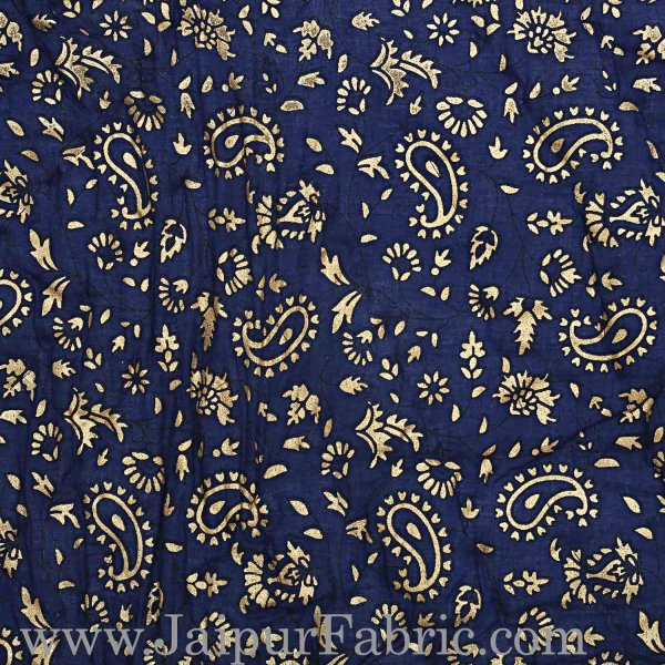 Navy Blue Base Golden Print Fine Cotton Double Quilt