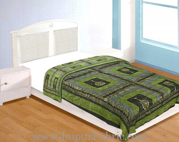 Mehandi And Green Golden Jaipuri  Tree  print Single Bed Quilt