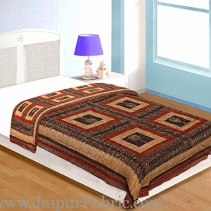Dark Cofffe  Golden Jaipuri  Tree  print Single Bed Quilt