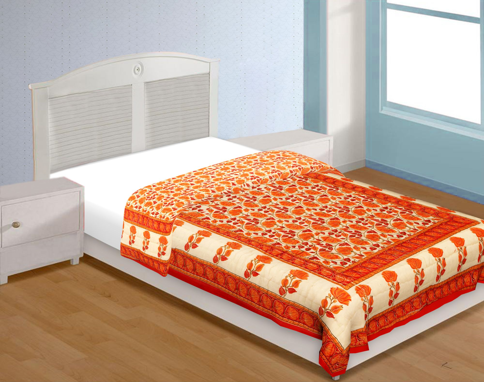 Orange And Cream Border With Golden Print Orange Flower Super Fine Cotton Voile(Mulmul) Both Side Printed Cotton Single Bed Quilt