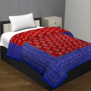 Jaipuri Printed Single Bed Razai Golden Red and blue with Paisley pattern
