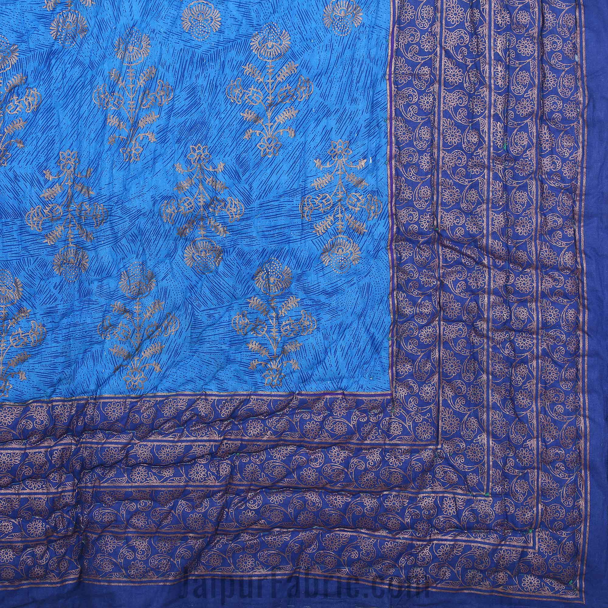 Jaipuri Printed Single Bed Razai Golden Blue and Purple with Paisley pattern