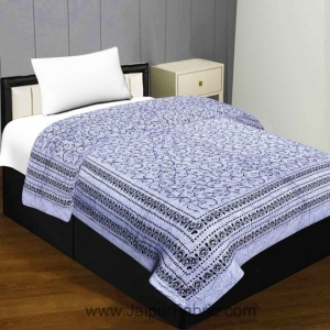Light Blue  Cream Base Fine Cotton Voile(Mulmul) Both Side Printed Cotton Single Bed Quilt