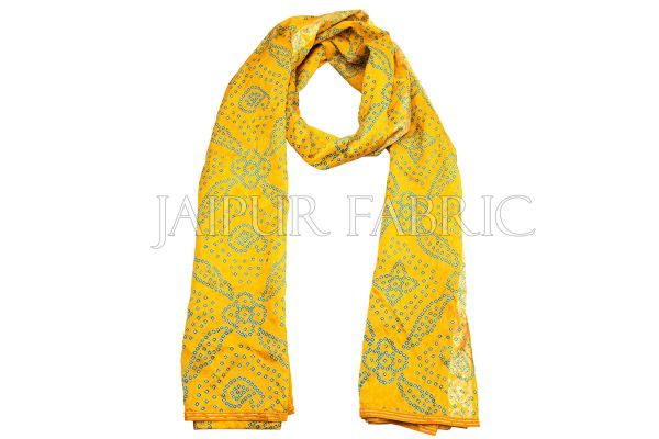 Yellow Color Rajasthani Bandhej Print Silk Scarf