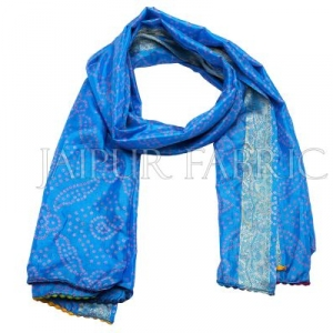 Blue Color Rajasthani Bandhej Print Silk Scarf