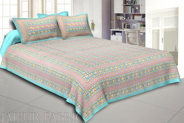 Cyan Border Multi Color Patchrs Screen Print Cotton Double Bed Sheet