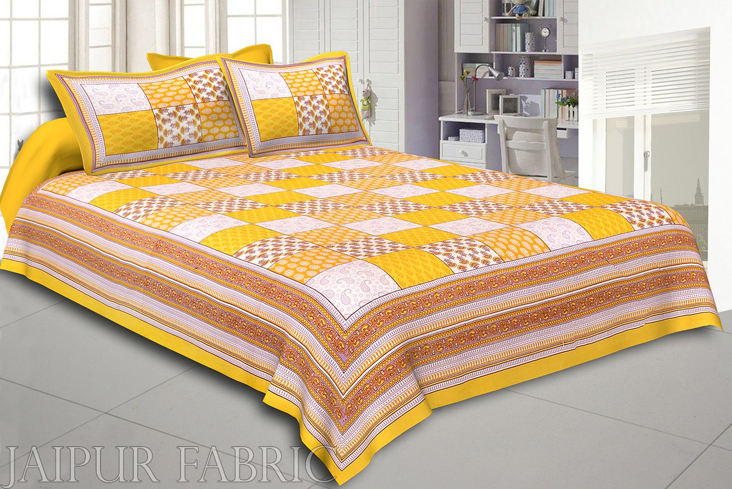 Yellow Border Square Pattern Screen Print Cotton Double Bed Sheet