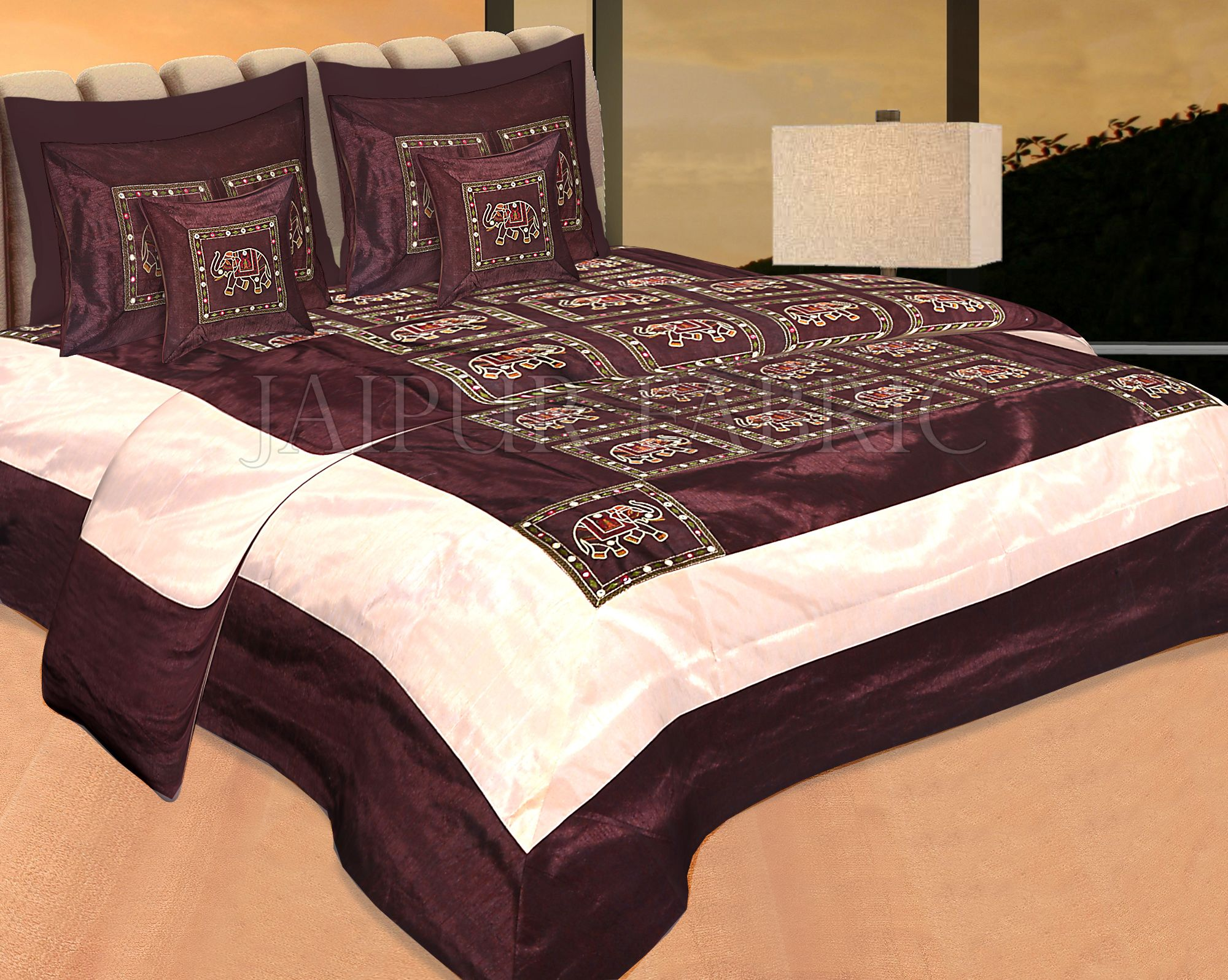 Brown Elephant Embroidered and Mirror Work Silk Double Bed Sheet
