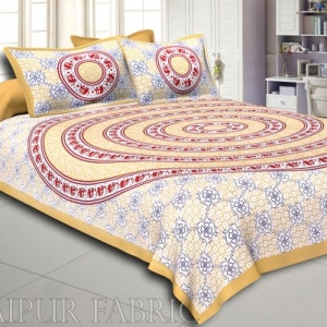 Orange Border White Base Circle Elephant Pattern Screen Print Cotton Double Bed Sheet