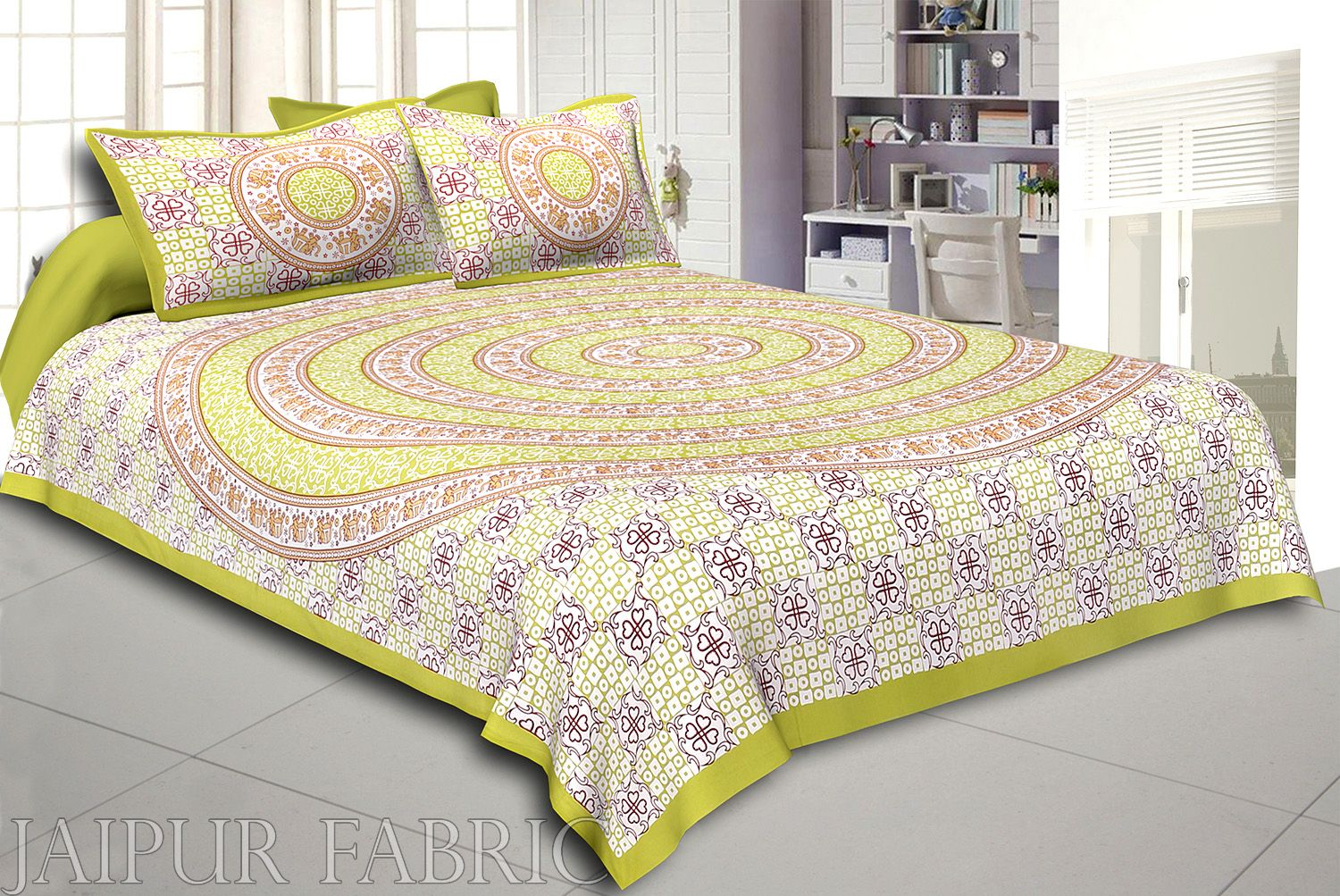 Dark Khaki Border Circle Elephant Pattern Screen Print Cotton Double Bed Sheet