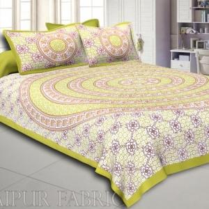 Dark Khaki Border Circle Elephant Pattern Screen Print Cotton Double Bed Sheet