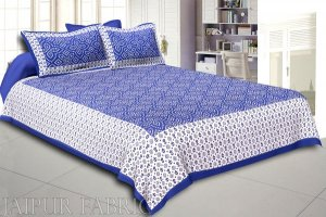 Wholesale Blue Border White Base Bandhej Pattern Screen Print Cotton Double Bed Sheet