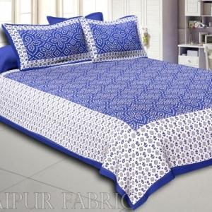 Blue Border White Base Bandhej Pattern Screen Print Cotton Double Bed Sheet