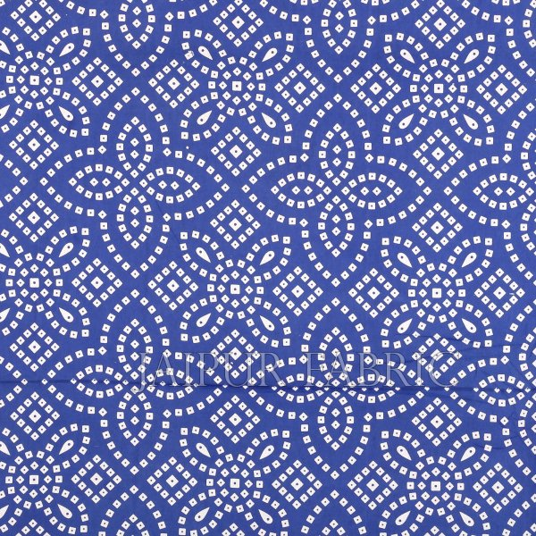 Blue Border White Base Bandhej Pattern Screen Print Cotton Double Bed Sheet