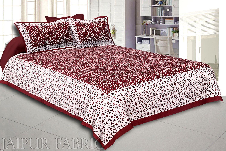 Sienna Border White Base Bandhej Pattern Screen Print Cotton Double Bed Sheet