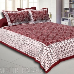 Sienna Border White Base Bandhej Pattern Screen Print Cotton Double Bed Sheet