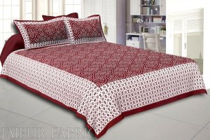 Wholesale Sienna Border White Base Bandhej Pattern Screen Print Cotton Double Bed Sheet