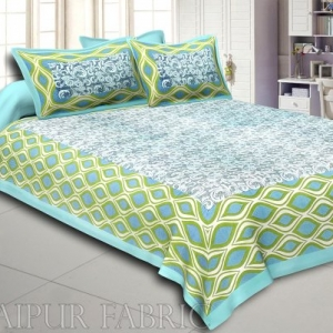 Sky Blue Border Retro Pattern Screen Print Cotton Double Bed Sheet