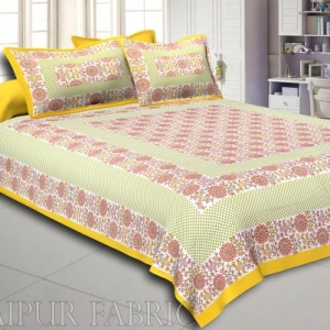 Yellow Color Flower Pattern Screen Print Cotton Double Bed Sheet