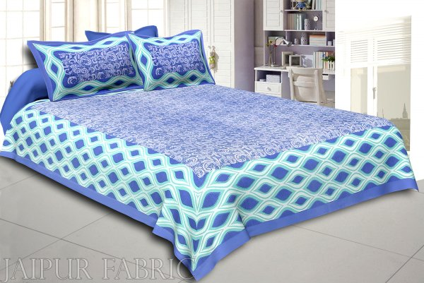 Navy Blue Border Retro Pattern Screen Print Cotton Double Bed Sheet