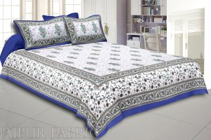 Blue Border White Base Flower & Leaf Pattern Screen Print Cotton Double Bed Sheet