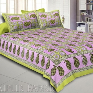 Green Border Circle Pattern Screen Print Cotton Double Bed Sheet