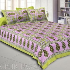 Green Border Circle Pattern Screen Print Cotton Double Bed Sheet