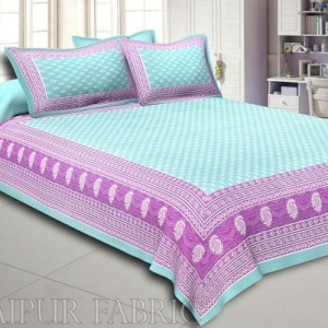 Green Border Leaf Pattern Screen Print Cotton Double Bed Sheet