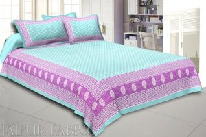 Wholesale Green Border Leaf Pattern Screen Print Cotton Double Bed Sheet