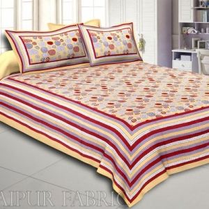 Peach Puff Border Peach Puff Base Stone Pattern Screen Print Cotton Double Bed Sheet