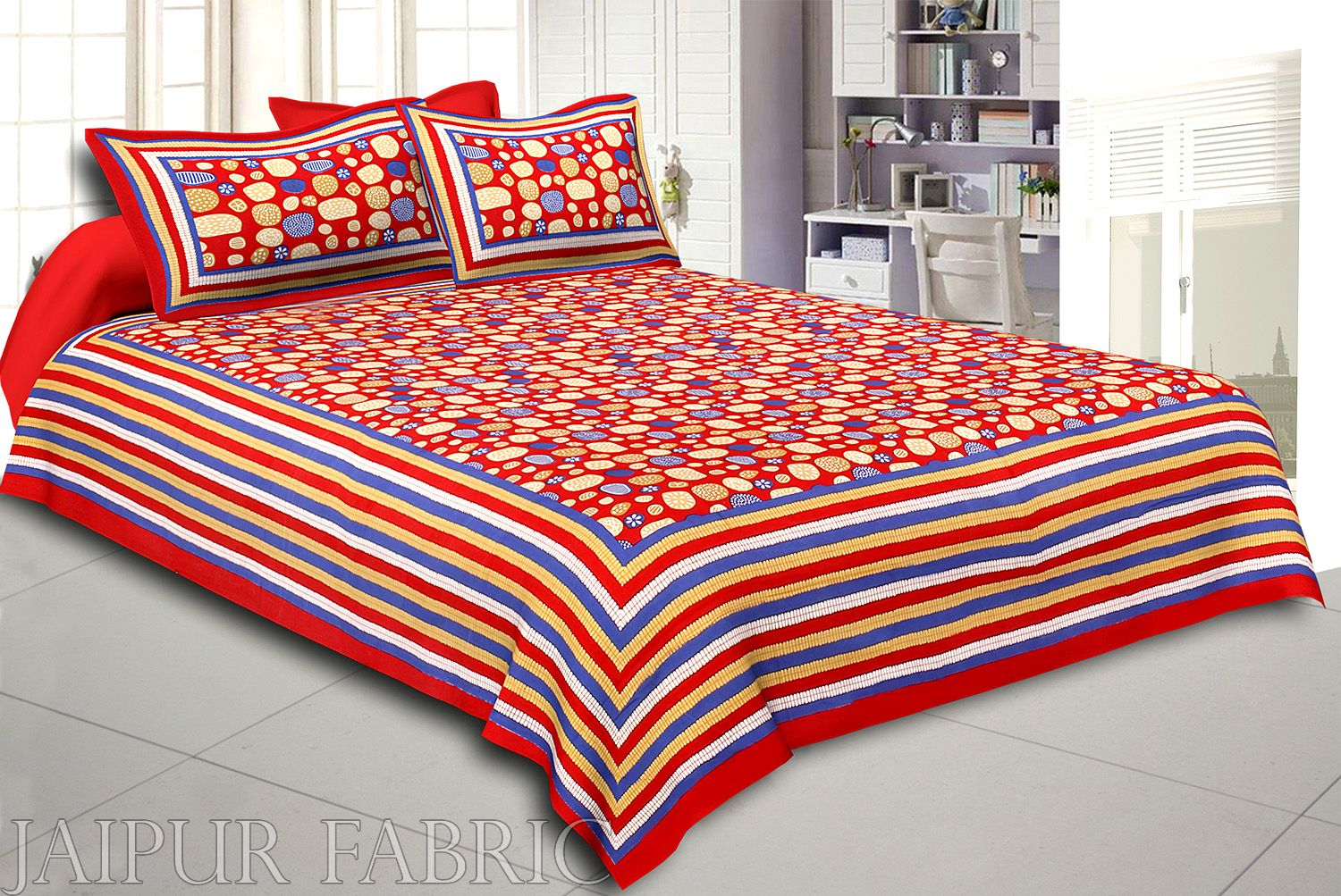 Red Border Multi Color Stone Pattern Screen Print Cotton Double Bed Sheet