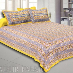 Yellow Border Multi Color Patchrs Screen Print Cotton Double Bed Sheet