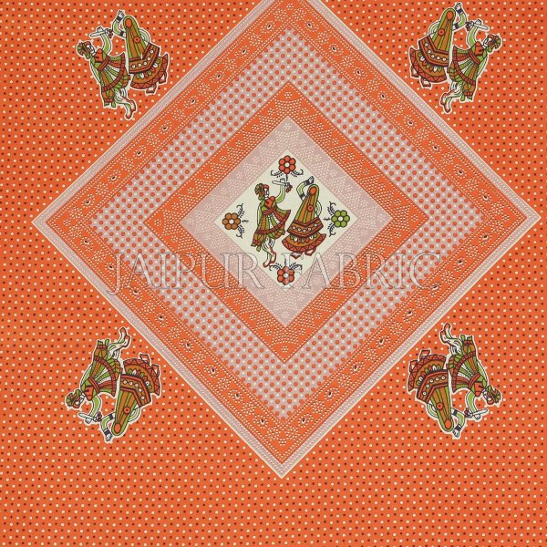 Brown Border Dancing Couple Pattern Screen Print Cotton Double Bed Sheet
